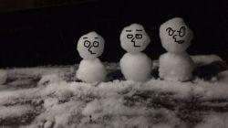 大雪 雪だるま